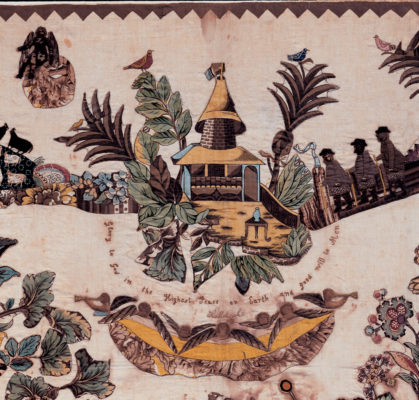 Detail of the top of the bedcover.