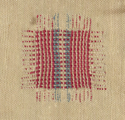 Detail of faux-woven stripes in red, white, and blue.
