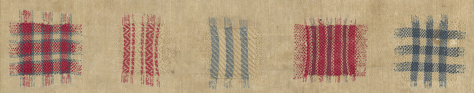 Detail of faux-weaving in the darning sampler, blue, red, and white, stripes and plaid.