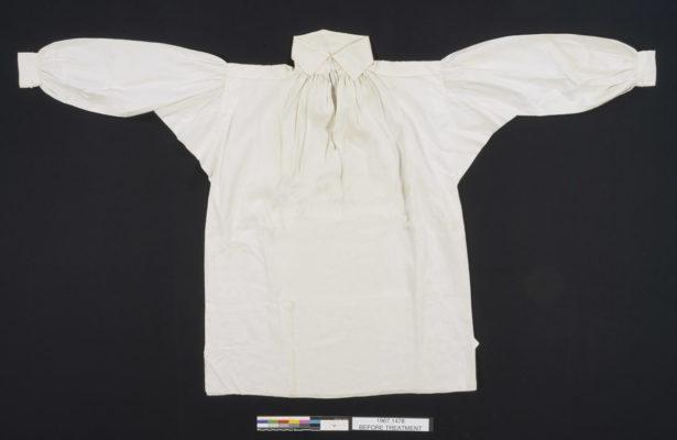White linen shirt, laying flat.