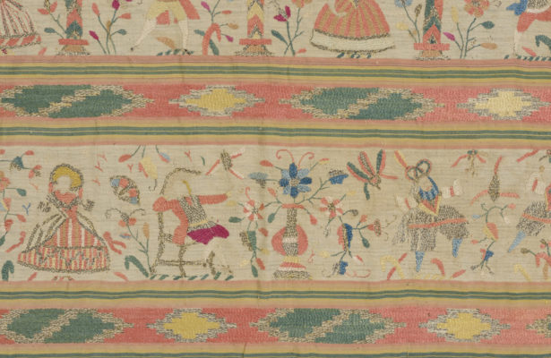 Detail of rebozo embroidery featuring several male and female figures.