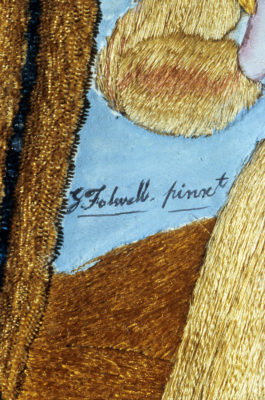 Detail of painter's (Godfrey Folwell) signature.