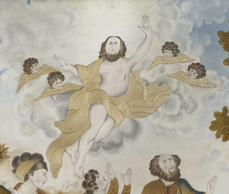 Detail of painted Jesus surrounded by cherubs in the sky. Clothing and wings are embroidered.