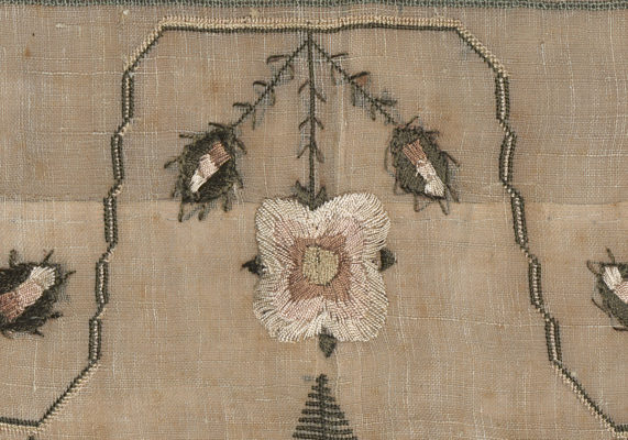 Detail of flower and bud embroidery. Pink, white, and green.