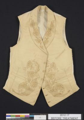 Front of white/cream waistcoat.