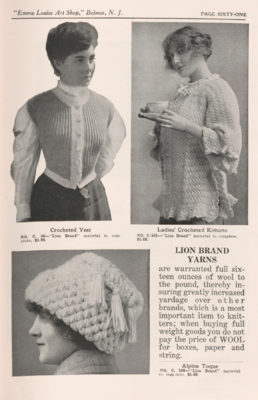 Page from trade catalog featuring crocheted clothing and accessories.