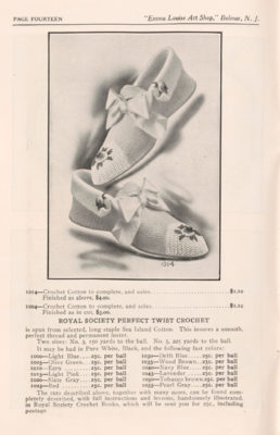 Page of trade catalog featuring crocheted shoes.