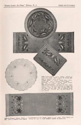 Page of trade catalog featuring embroidered items including a scarf and centerpieces.