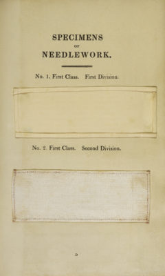 "Page titled ""Specimens of Needlework"" with two sewing samples."
